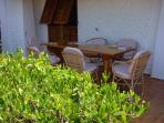 Another outside dining area which has sea views