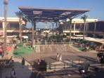 The outdoor shopping center - restaurants, supermarket, cafes, clothing and souvenirs.