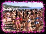 Sutomore's vibrant beach life (5-10 min walking)