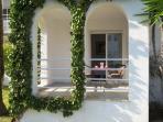 Double bedroom terrace overlooking gardens