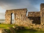 Spectacular ruins of St. Patrick's chapel 3 mins walk from cottage, with famous viking rock gra