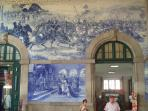 bleu tiles in the railway station Sao Bento