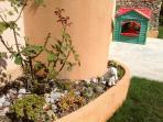 Bottom garden with play house and Bernard!