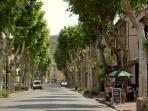 The avenue into Villes sur Auzon leads to a traditional village square.