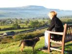 Enjoying the view over Wensleydale from Leyburn Shawl