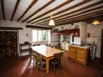 Large kitchen with inglenook: perfect for family get togethers.
