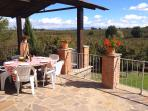 From dining area across nut orchards to mountains - for those long lunches - you can see f