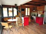 Newly installed fully equipped kitchen and inside dining area for 4.