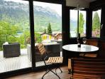 Inside dining for 4 with amazing views of Lake Brienz