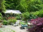 Pretty garden with patio areas