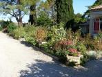 grand jardin fleuri sur terrain de 7200 m2, clôturé, sécurisé, portail automatique