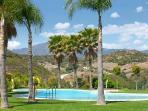 Pool overlooking mountains