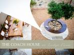 The sunny Mediterranean-style courtyard with BBQ, hot tub and seating bathed in sun all day!