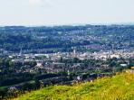 Solsbury Hill a hearty walk away looking down on larkhall Village and Bath City Centre