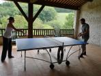 Covered terrace with ping pong table