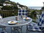 Cornish cream tea with wonderful views to the countryside and the sea