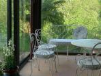 The enclosed veranada