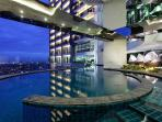 Skypark has 3 pools ( infinity, lap pool and kid's pool with movie area)