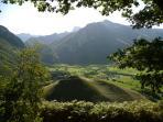 Depuis le chalet, une vue à 360 °, sur la vallée d'Aspe dans les Pyrénées