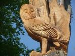 View our carved owl from your patio