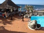 Pool bar and restaurant with a excellent menu well priced friendly staff + take away to your balcony