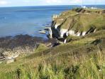 Flamborough Head with spectacular white chalk cliffs