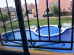 View of the pool from the second bedroom