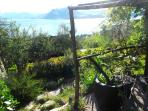 This is the shady pergola overlooking the lake