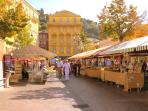 The market at Cours Saleya is only about a 5 minutes stroll through the pedestrianised Old Town