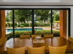 Internal dining (8) overlooking pool and golf course