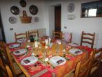 The dining room laid out for a typical Tuscan feast