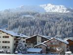 Chalet Arve (centre) has exceptional views of the Gotschna mountain and cable car
