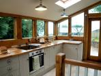 Spacious kitchen with fab views.