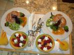 Delicious hot and cold breakfast served to your suite each morning