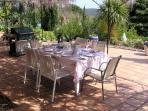 Lower terrace set for lunch