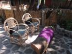Sitting area in front of Casita de la Sirena, facing Lake Atitlan.
