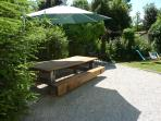 Eating area infront of 'la Petite Bergerie' - big enough for everyone!