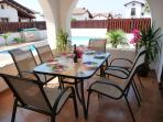 Outside under-terrace dining area