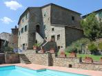 Impressive stone built Tuscan holiday villa with private grounds and swimminig pool, sleeps 10