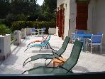 Nice terrace with sun loungers to enjoy nice weather