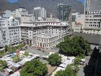 View from the balcony - the Table Mountain, Greenmarket Square, the city center