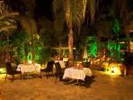 The La Casa Tropical Gardens at night
