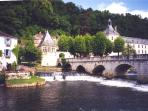 Picturesque Brantome where you can canoe down the river.