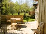 Sunny deck with country views
