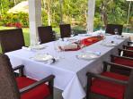 Dinner setting outside