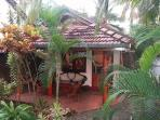 The cabana in the tropical side garden