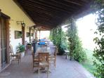 OUR RESTARUANT VERANDAH, on a warm Summers evening enjoy Umbrian cusine on our beautiful terrace