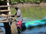 Lamin tying up the boat in Senegal!