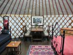 Luxury Yurts interier. Can sleep up to 5 adults