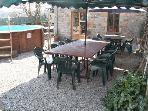 Out door dinning area overlooking pool